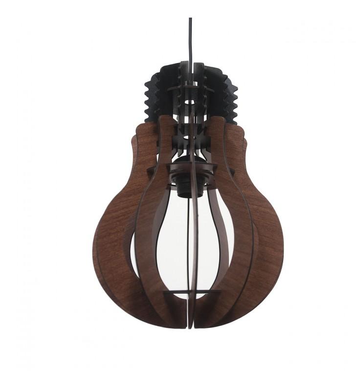 Φωτιστικό Ξύλινο Μονόφωτο Καφέ Γλόμπος Διάμ. 20*30/70 - MEC-6072402B - Alpha