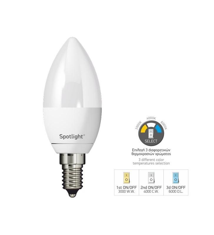 ΛΑΜΠΤΗΡAΣ LED ΚΕΡΙ E14 5W SWITCH TEMP με επιλογή θερμοκρασίας χρώματος - SpotLight (5577)