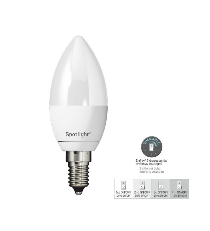 ΛΑΜΠΤΗΡAΣ LED ΚΕΡΙ E14 5W SWITCH DIM 4000K με επιλογή έντασης φωτισμού - SpotLight (5581)