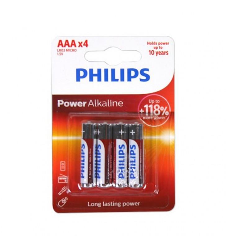 Μπαταρία Αλκαλική Philips Power Alkaline LR03 size AAA 1.5V 4 Τεμ.
