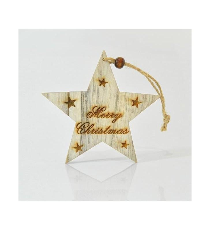 ΑΣΤΕΡΙ ΞΥΛΙΝΟ, MERRY CHRISTMAS, 20x11,5x0,5cm - EUROLAMP (600-40516)