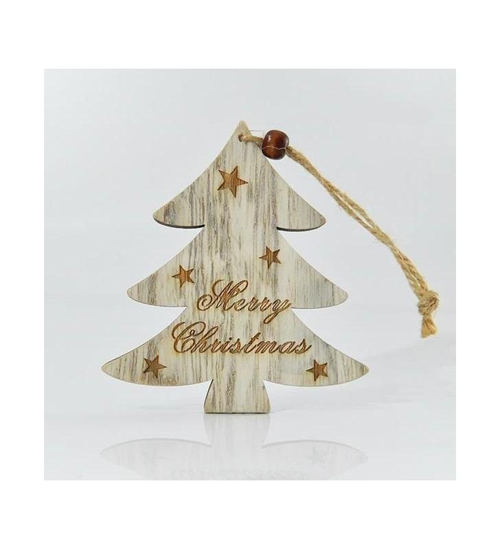 ΔΕΝΤΡΑΚΙ ΞΥΛΙΝΟ, MERRY CHRISTMAS, 20x10x0,5cm - EUROLAMP (600-40517)