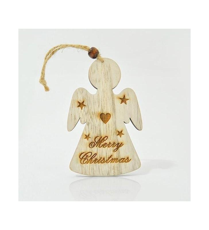 ΑΓΓΕΛΑΚΙ ΞΥΛΙΝΟ, MERRY CHRISTMAS, 20x7,5x0,5cm - EUROLAMP (600-40518)