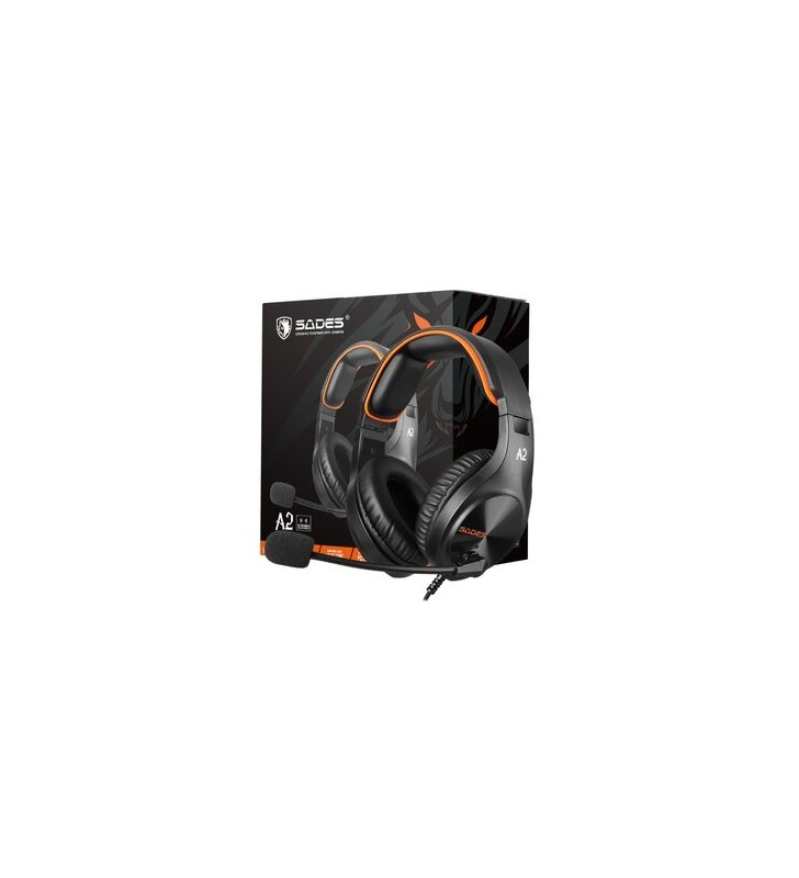 SADES Gaming Headset A2, multiplatform, 3.5mm, μαύρα - SADES (SA-A2-OR)