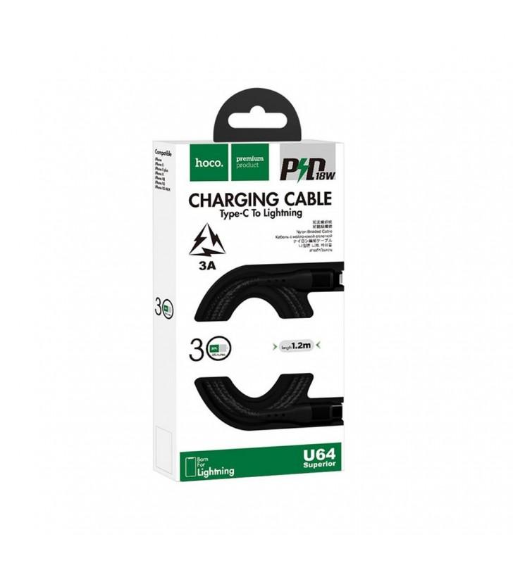 Καλώδιο σύνδεσης Hoco U64 Superior PD USB-C σε Lightning Fast Charging 3.0A 18W Μαύρο 1.2μ