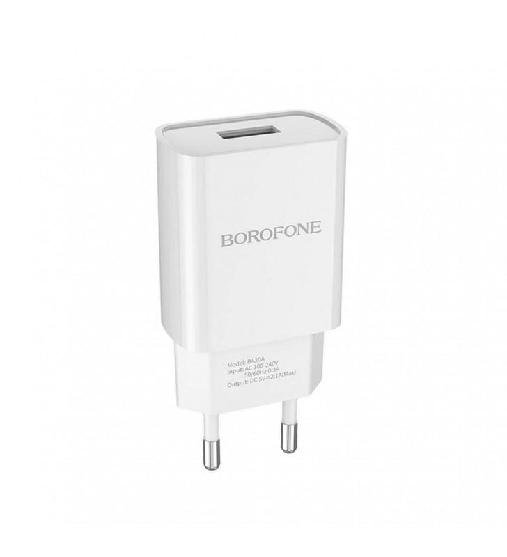 Φορτιστής Ταξιδίου Borofone BA20A Sharp USB 5V/2.1A Λευκός