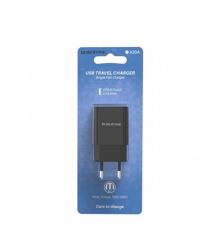 Φορτιστής Ταξιδίου Borofone BA20A Sharp USB 5V/2.1A Μαύρος