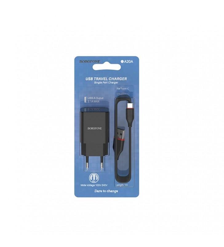 Φορτιστής Ταξιδίου Borofone BA20A Sharp USB 5V/2.1A με Αποσπώμενο Καλώδιο USB-C 1μ Μαύρος