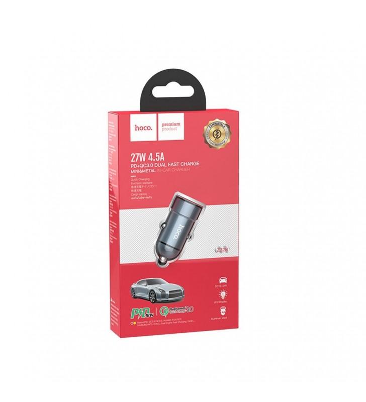 Φορτιστής Αυτοκινήτου Hoco Z32B Speed up 4.5A 27W με USB-C PD QC3.0A και USB 1.5A Γκρι με LED