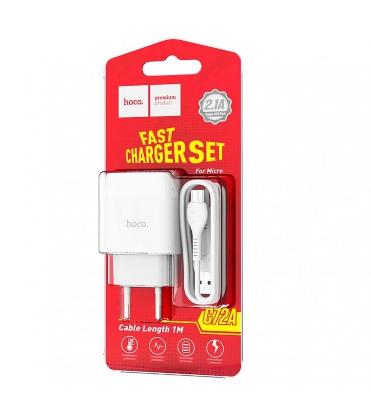 Φορτιστής Ταξιδίου Hoco C72A Glorious USB 2.1A Λευκός με καλώδιο Micro-USB