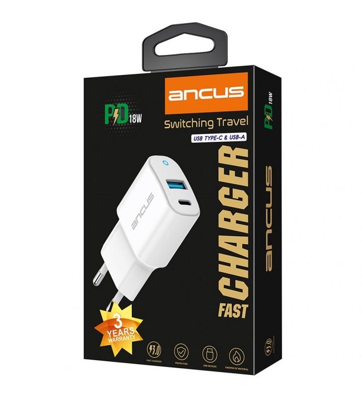 Φορτιστής Ταξιδίου Ancus Supreme Series Dual με USB και USB-C PD 18W 5V/3.4A Λευκός με ένδειξη LED