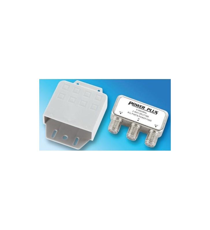 ΔΙΑΚΛΑΔΩΤΗΣ F 1 ΠΡΟΣ 2 με διέλευση τάσης (5-2400Μhz) ΕΞΩΤΕΡΙΚΟΣ GS09-02 POWER PLUS