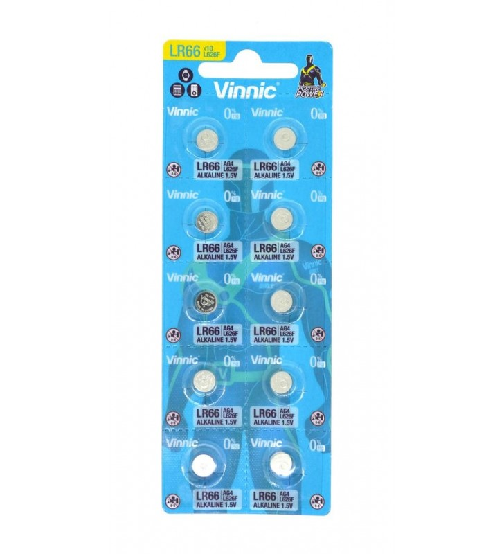Buttoncell Vinnic L626F AG4 LR66 με Διάτρητη Συσκευασία (Τιμή 1 τμχ.)