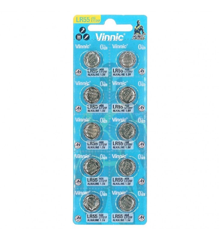 Buttoncell Vinnic LR1121F AG8 LR55 με Διάτρητη Συσκευασία (Τιμή 1 τμχ.)