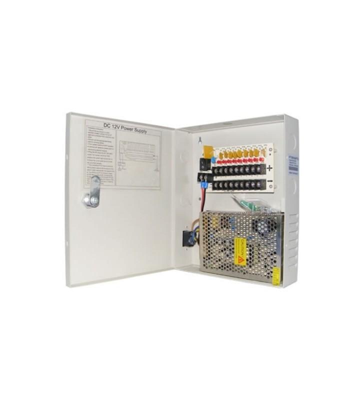 Switching Τροφοδοτικό 9 καμερών 12VDC 5A σε μεταλλικό κουτί PTC Fuse