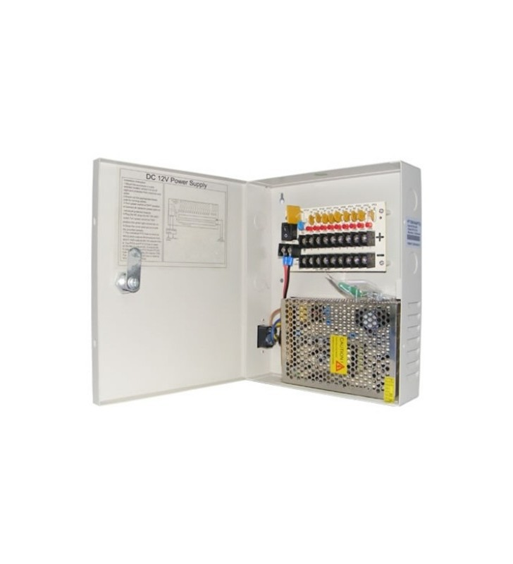 Switching Τροφοδοτικό 9 καμερών 12VDC 5A σε μεταλλικό κουτί PTC Fuse OEM
