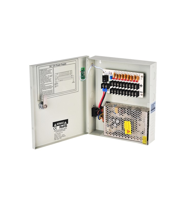 Switching Τροφοδοτικό 9 καμερών 12VDC 10A σε μεταλλικό κουτί