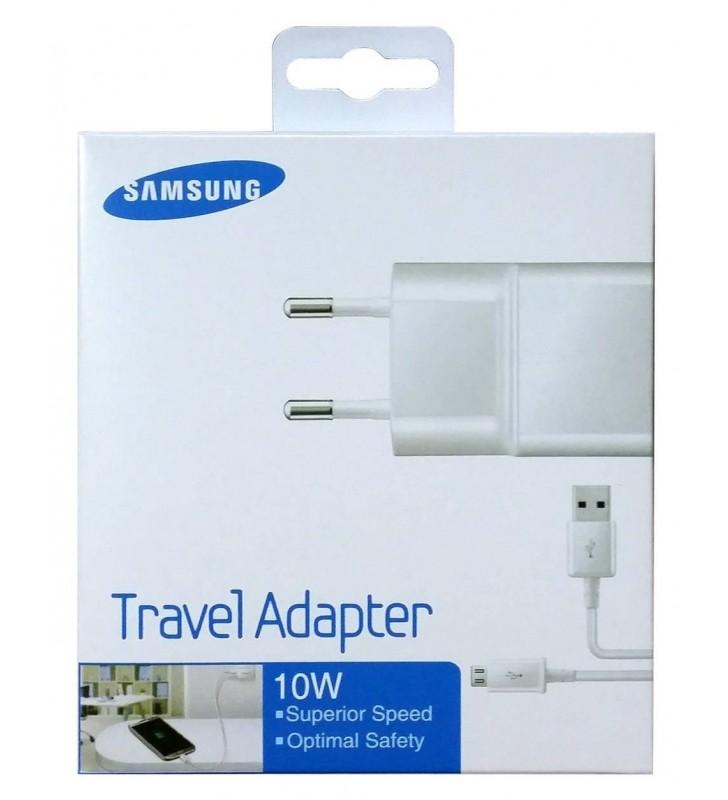 Φορτιστής Ταξιδίου Samsung ETA-U90EBE 10W Λευκός / Αποσπώμενο Καλώδιο Micro USB 2000 mAh