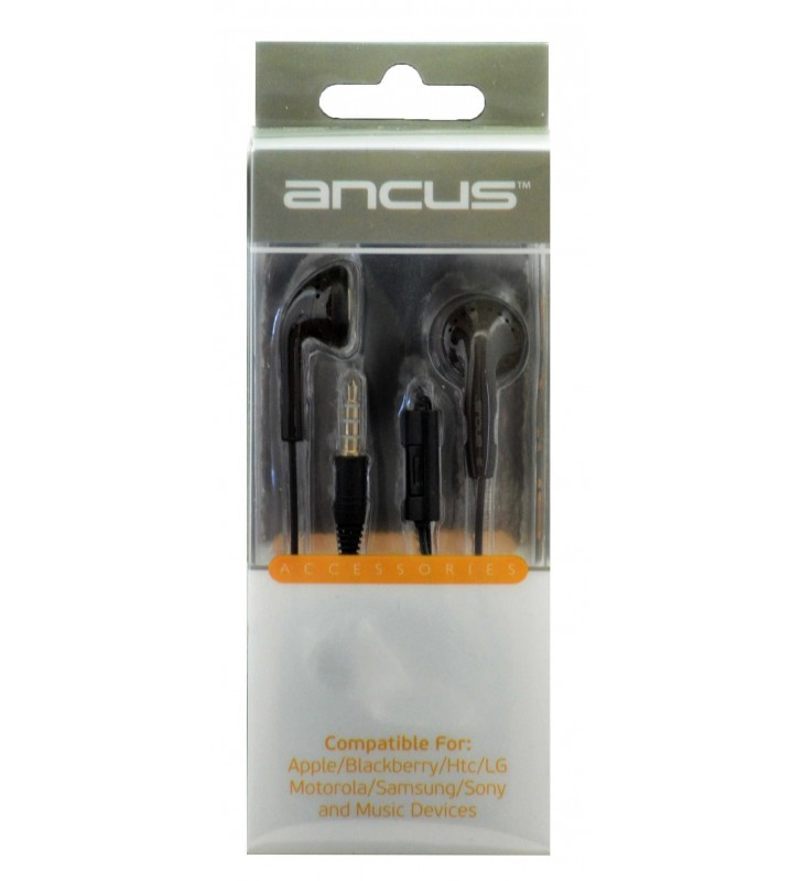 Hands Free Ancus για Apple-Samsung-HTC-LG Μαύρο με Πλήκτρο Απάντησης