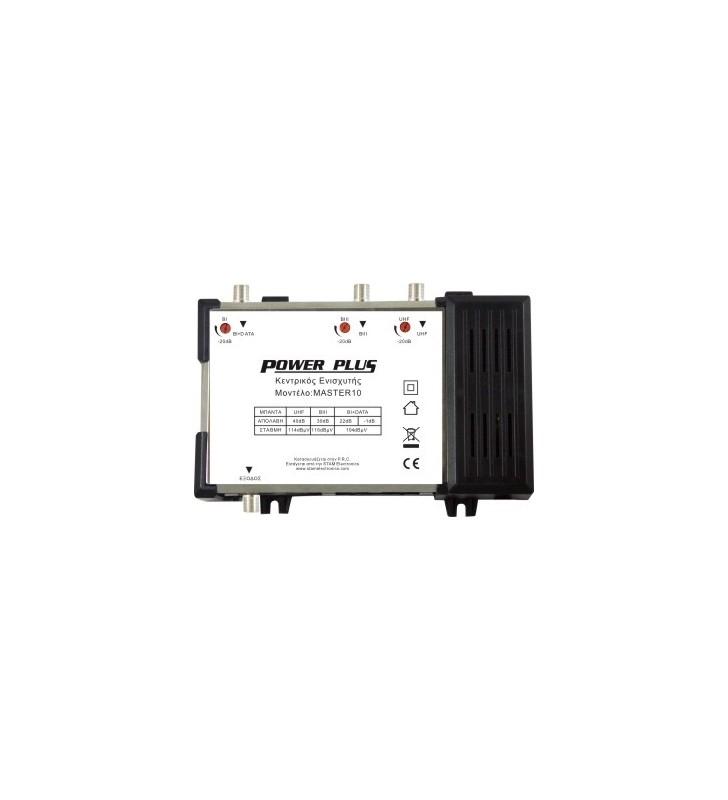 ΚΕΝΤΡΙΚΟΣ ΕΝΙΣΧΥΤΗΣ με Εισόδους BI+DATA/BIII/UHF 40dB LTE POWER PLUS MASTER 10
