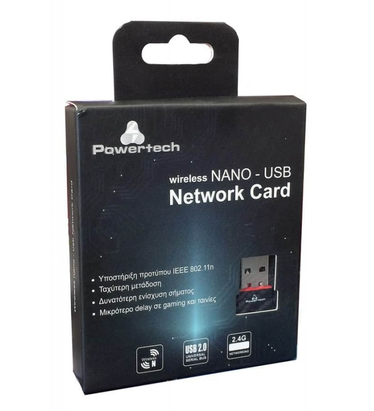 Wireless nano USB Network Adapter, 150Mbps, 2.4GHz Power Tech PT-425