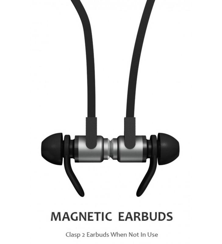 Bluetooth Hands Free Jabees Magnet Sport με Πλακέ Καλώδιο Μαύρο