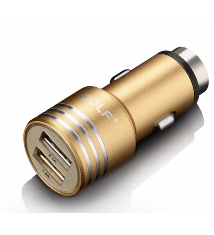 ΦΟΡΤΙΣΤΗΣ ΑΥΤΟΚΙΝΗΤΟΥ 2x USB 2.1A, μεταλλικός, Χρυσός GOLF GF-C06