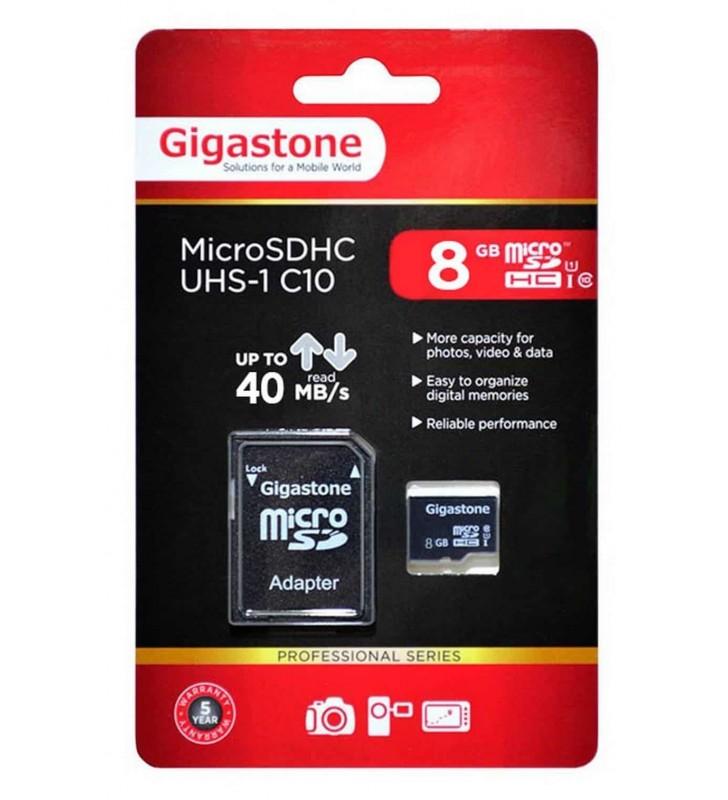 Κάρτα Μνήμης Gigastone MicroSDHC UHS-1 8GB C10 Professional Series με SD Αντάπτορα up to 40 MB/s