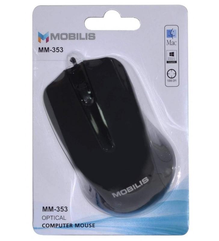 ΕΝΣΥΡΜΑΤΟ ΠΟΝΤΙΚΙ Mobilis MM-353 3 Πλήκτρων 1000 DPI Μαύρο