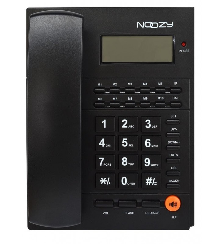 ΣΤΑΘΕΡΟ ΤΗΛΕΦΩΝΟ Noozy Phinea N37 με Αναγνώριση Κλήσης και Ανοιχτή Ακρόαση Μαύρο