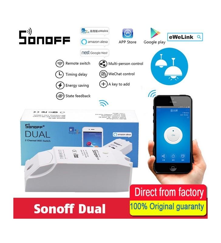 Original Sonoff Dual - Έξυπνος Ασύρματος Διπλός Διακόπτης Wifi Για Κινητά Android/IOS - Smart Home