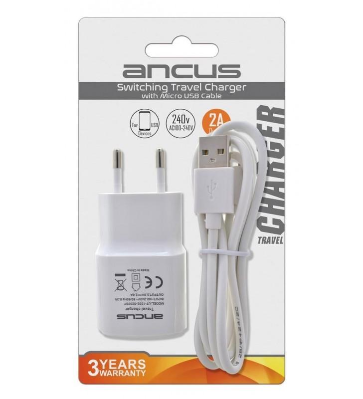 Φορτιστής Ταξιδίου Ancus Usb 2000 mAh Switching 5V με Αποσπώμενο Καλώδιο Micro USB 1m Λευκός