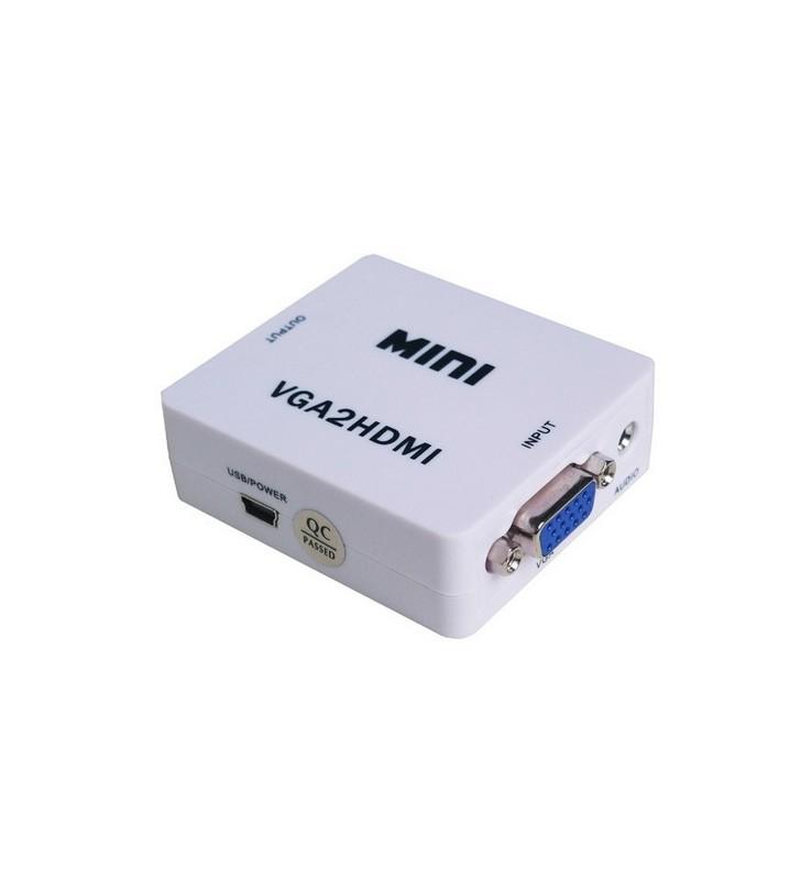 ΜΕΤΑΤΡΟΠΕΑΣ VGA θηλυκό με Ήχο σε HDMI (A) θηλυκό 720p/1080p, ANGA PS-M600