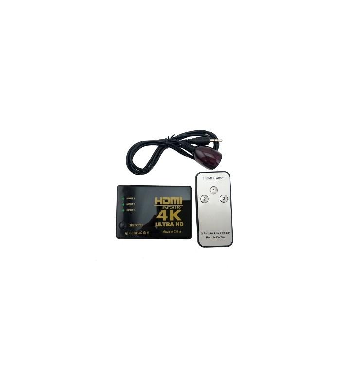 HDMI Switcher 3 Εισόδων - 1 Εξόδου με τηλεχειριστήριο, ANGA PS-303-4K