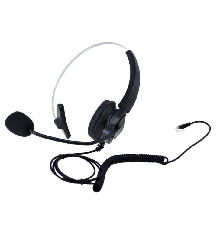 Ενσύρματο Aκουστικό Noozy Μαύρο - Ασημί RJ9 με Μικρόφωνο για Σταθερά Τηλέφωνα