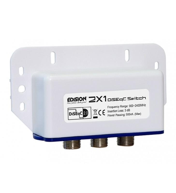 Διακόπτης DiseqC EDISION 2x1, σύνδεση εώς 2 Δορυφόρους προς 1 Δέκτη (02-01-0001)