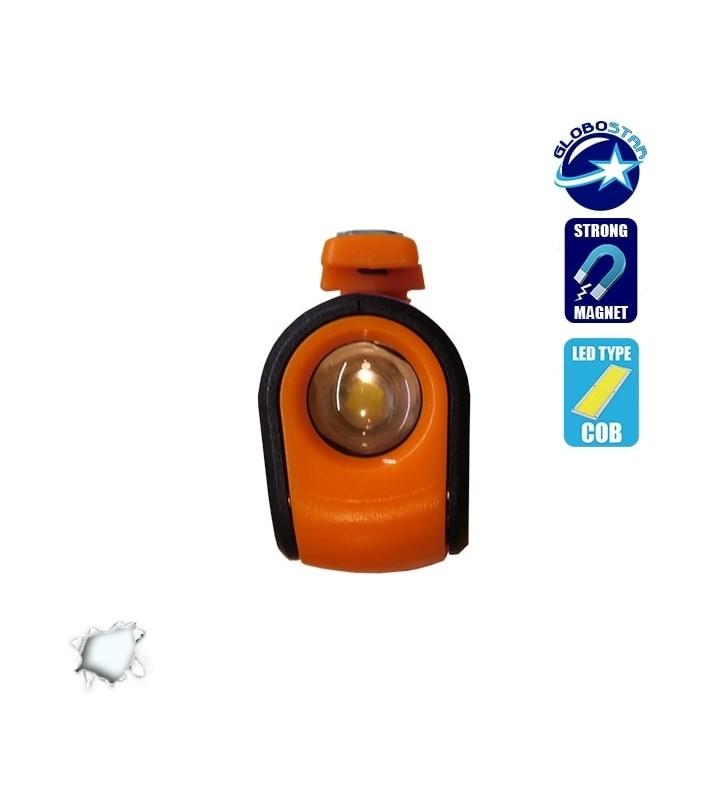 Mini Φορητός Φακός PEN COB LED Πορτοκαλί Χρώμα GloboStar 07011
