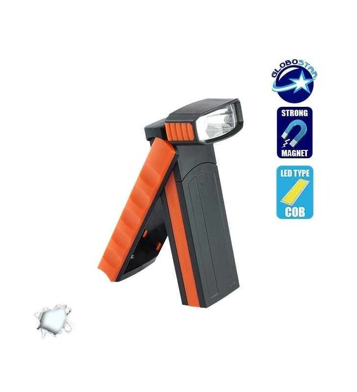 Φορητός Φακός LED με Περιστρεφόμενο Πάνω Μέρος και Πλαϊνό COB GloboStar 07014