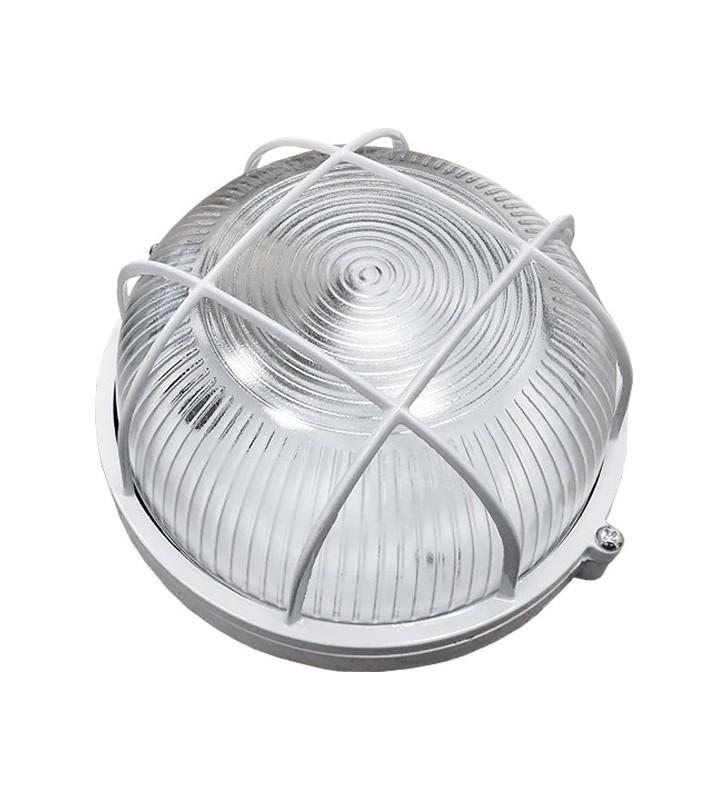 Καραβοχελώνα αλουμινίου στεγανή στρόγγυλη για λαμπτήρα Ε27 Φ180mm σε λευκό χρώμα OLA4190