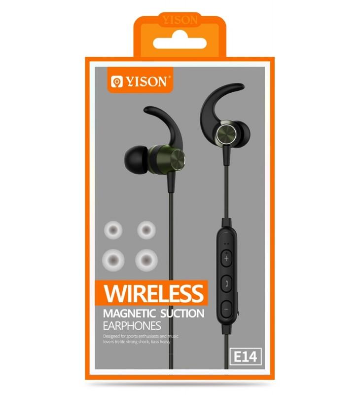 Bluetooth Hands Free με μικρόφωνο HD, Magnetic, 10mm, μαύρα YISON E14-BK