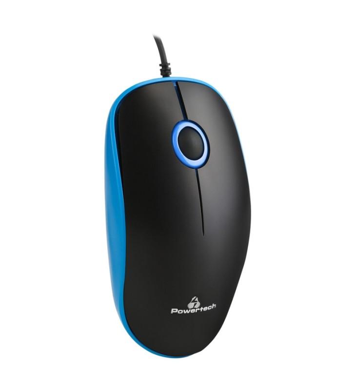 Ενσύρματο ποντίκι, Οπτικό, 1000DPI, USB, μπλε POWERTECH (PT-683)