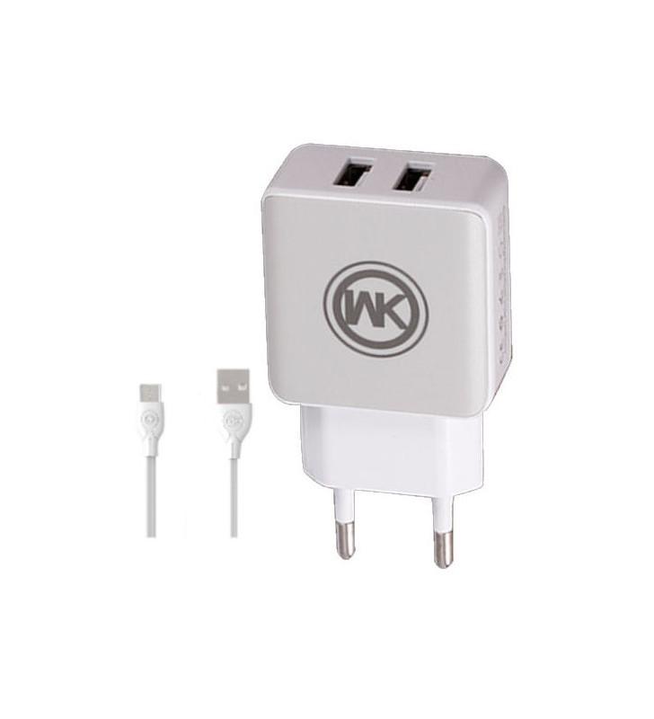 Φορτιστής Πρίζας WK WP-U11 Combo 2x USB 2.1A με καλώδιο Micro Usb Cable 1m White