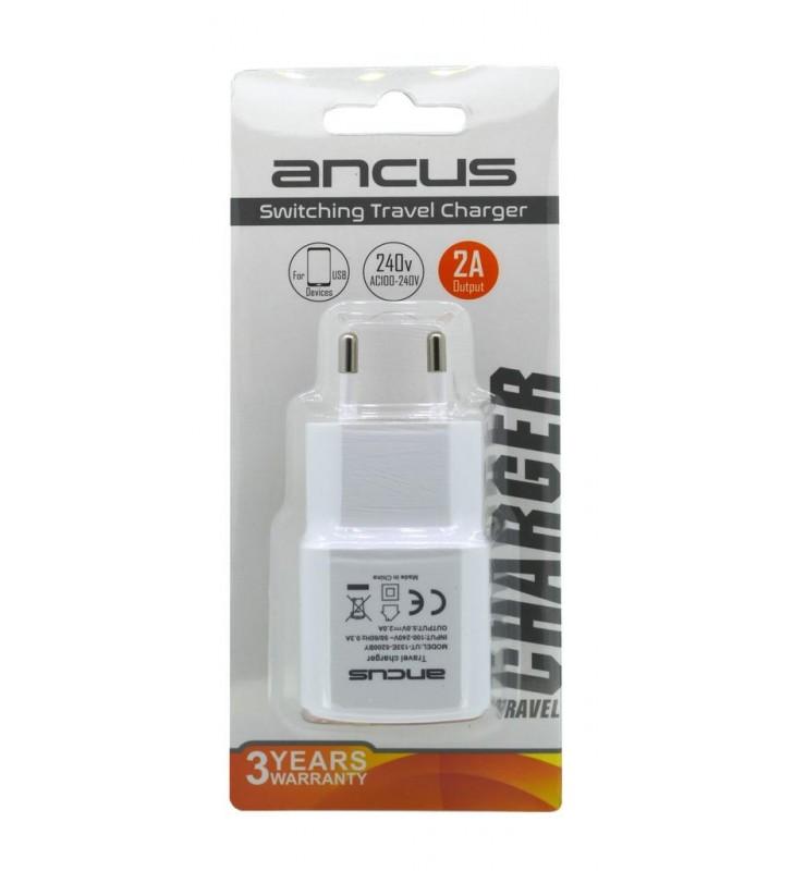 Φορτιστής Ταξιδίου Ancus Usb 2000 mAh Switching 5V Λευκός