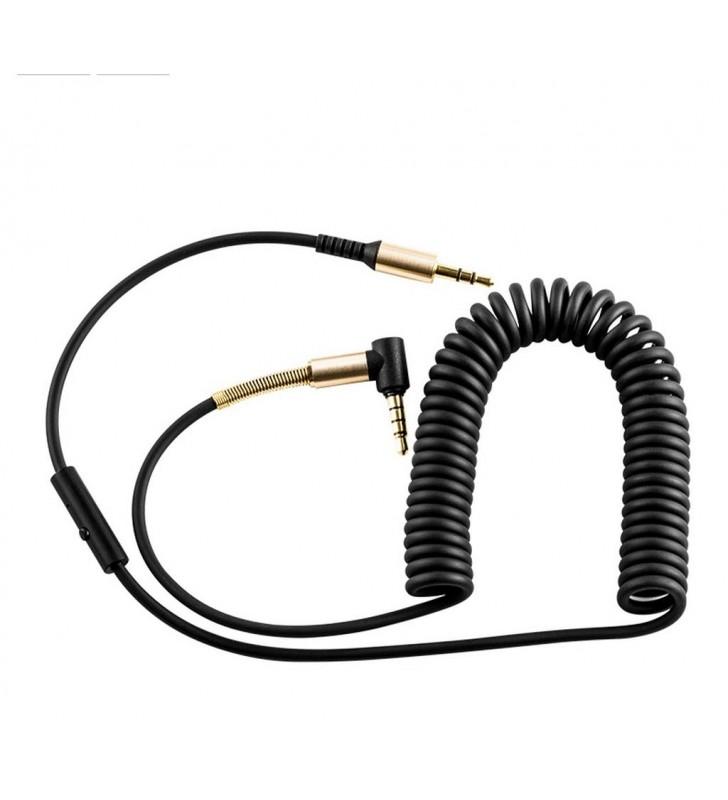 Καλώδιο σύνδεσης Ήχου Hoco UPA02 3.5mm ΑΡΣ σε 3.5mm ΑΡΣ Γωνιακό Κονέκτορα 1μ. Μαύρο με μικρόφ.