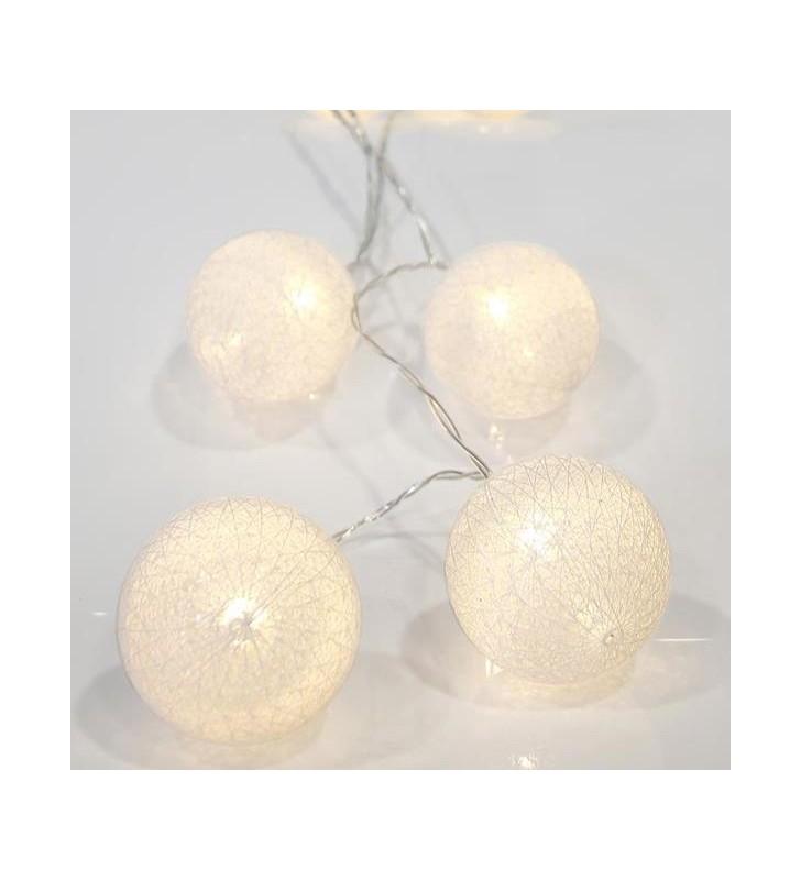 ΣΕΙΡΑ ΜΠΑΤΑΡΙΑΣ, 10 LED ΘΕΡΜΑ ΛΕΥΚΑ ΜΕ ΛΕΥΚΕΣ ΜΠΑΛΕΣ, ΑΝΑ 15cm, IP20. - (600-11122)