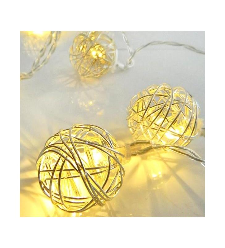 ΣΕΙΡΑ ΜΠΑΤΑΡΙΑΣ, 10 LED ΘΕΡΜΑ ΛΕΥΚΑ ΜΕ ΑΣΗΜΙ ΜΠΑΛΕΣ, IP20. - (600-11180)