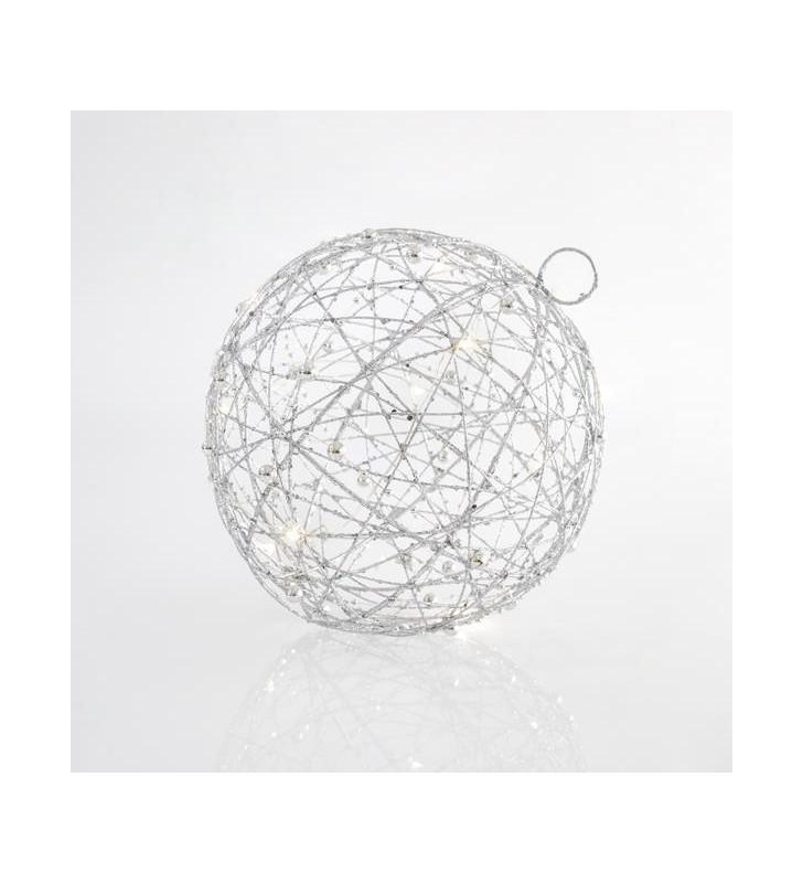 ΑΣΗΜΙ ΦΩΤΙΖΟΜΕΝΗ ΜΠΑΛΑ ΜΕ GLITTER, 10 LED, 20cm - (600-40090)