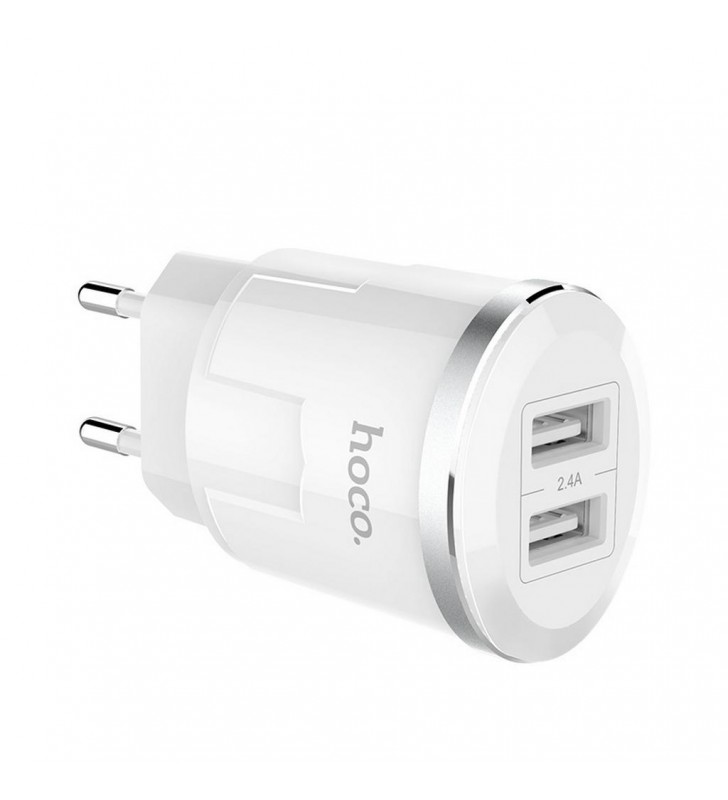 Φορτιστής Ταξιδίου Hoco C38A Thunder Power Dual USB Fast Charging 5V/2.4A 12W Λευκός