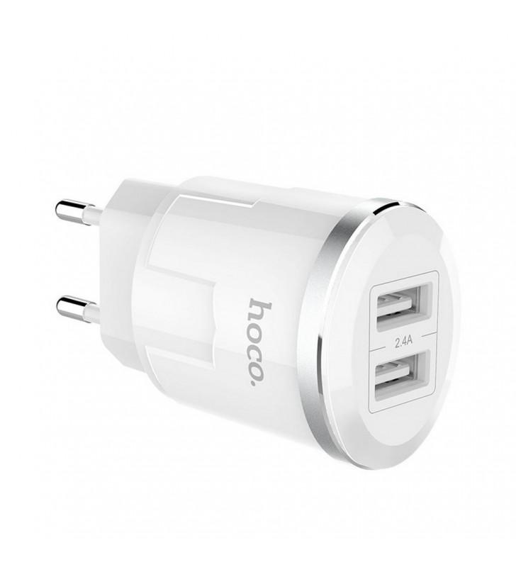 Φορτιστής Ταξιδίου Hoco C38A Thunder Power Dual USB Fast Charging 5V/2.4A 12W Λευκός