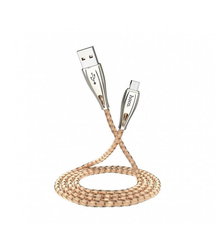 Καλώδιο σύνδεσης Hoco U56 Metal Armor USB σε Micro-USB Fast Charging 2.4A Χρυσαφί 1.2μ